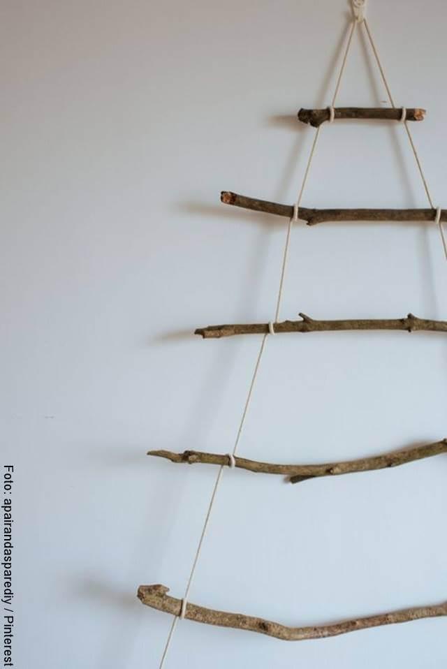Foto de ramas secas colgadas en la pared