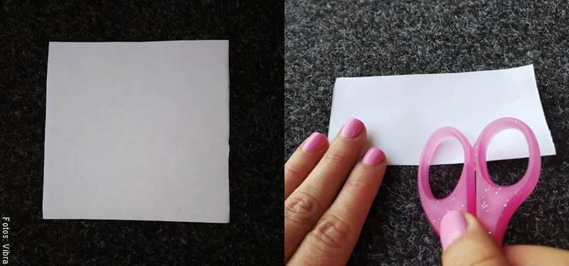 Foto de una cuadro de papel doblado a la mitad