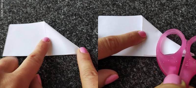 Foto de un papel con la punta doblada