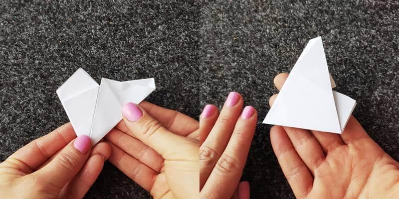 Foto de un papel doblado para hacer estrellas de Navidad