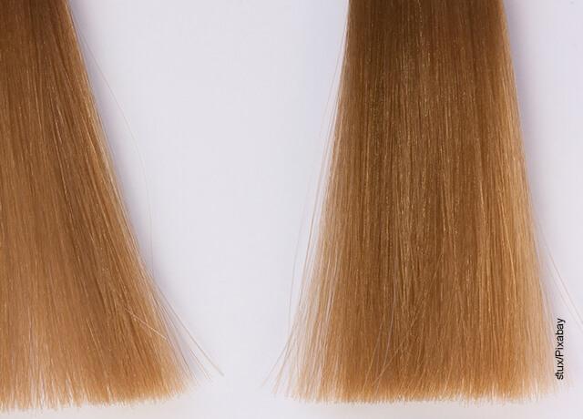 Foto de unos mechos de pelo que muestran las iluminaciones en el cabello