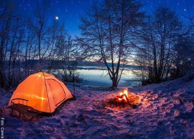 Foto de el cielo estrellado desde un camping