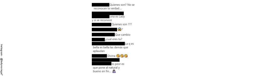 Screenshot de los comentarios en la publicación de Lady Noriega sin maquillaje