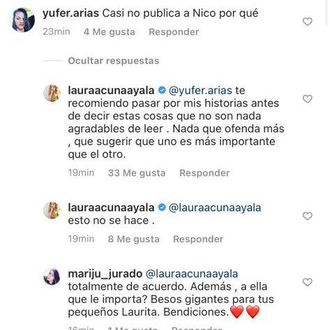 La tajante respuesta de Laura Acuña a seguidora que insinuó que prefería más a su hija que a su hijjo.