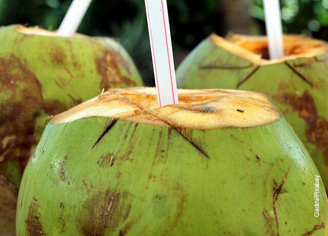 Foto de un coco abierto que muestra para qué sirve el agua de coco