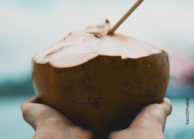 Foto de unas manos sosteniendo una bebida natural