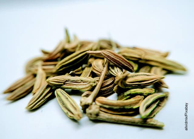 Foto de unas semillas sobre una mesa que muestran para qué sirve el hinojo