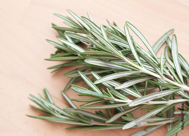 Foto de ramas de hierbas aromáticas sobre una mesa