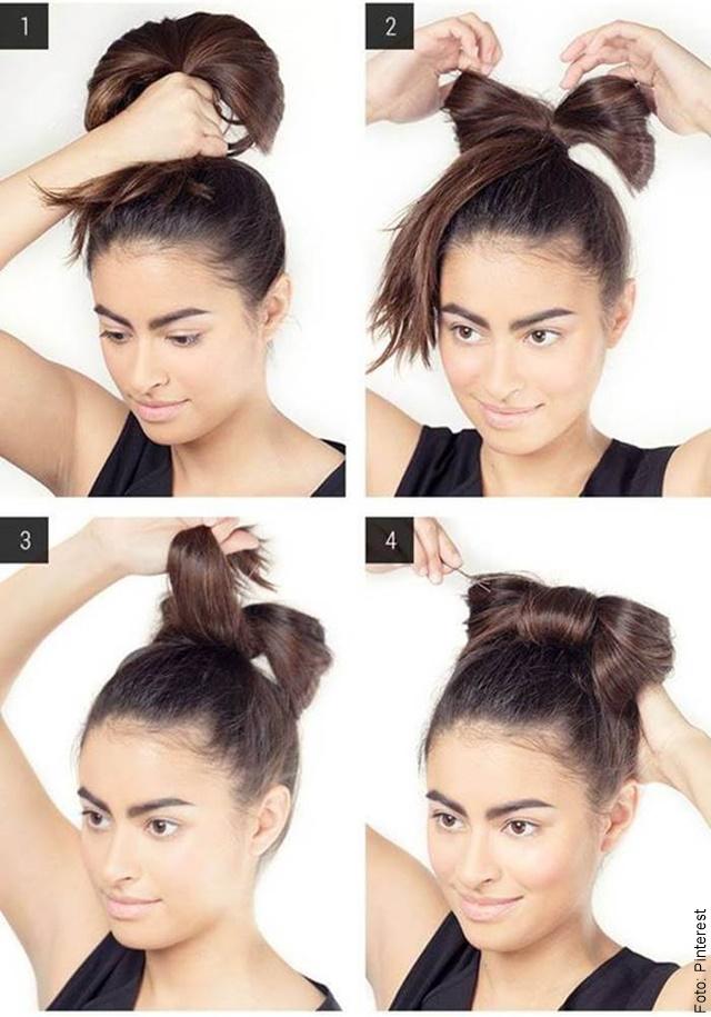 foto paso a paso peinado fácil con cabello oscuro