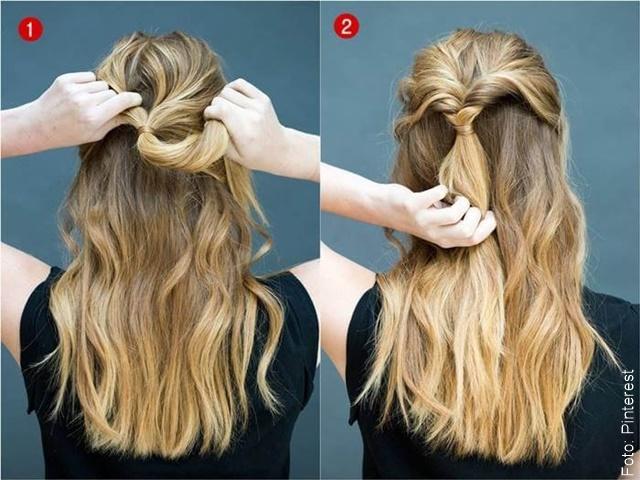 foto de paso a paso de peinado fácil en cabello rubio