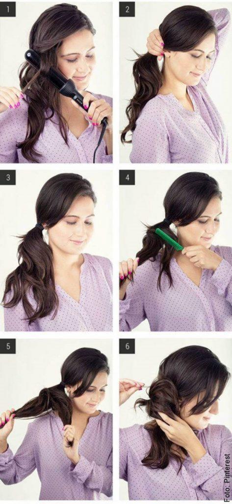 foto de paso a paso peinado fácil cabello oscuro