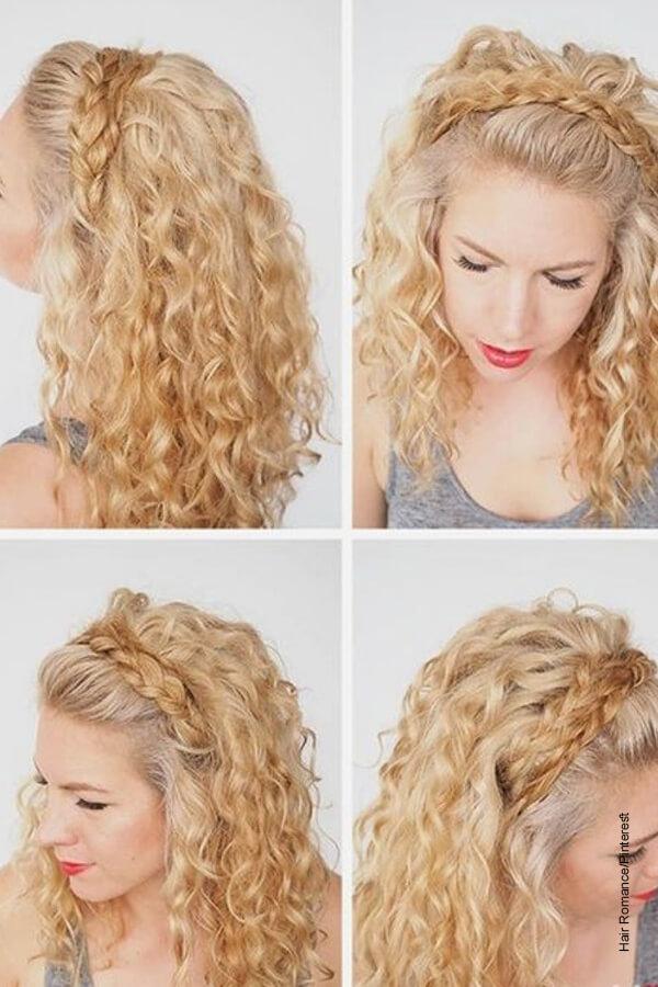 Foto de una mujer rubia que muestra los peinados para cabello crespo