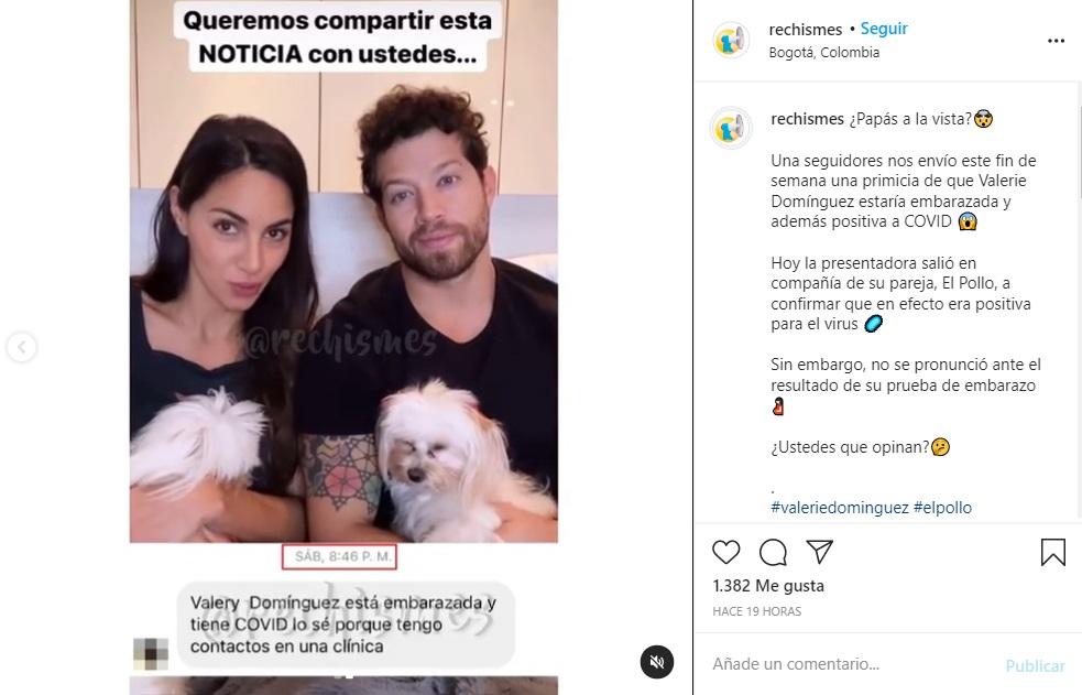 Pantallazo de página de chismes que revela que Valerie Domínguez estaría en embarazo.