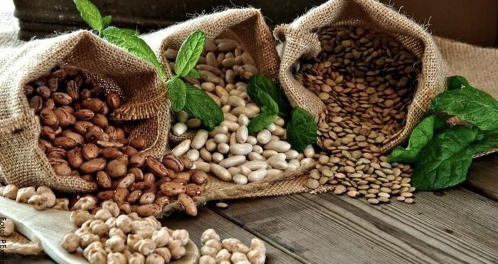 Foto de unas bolsas con diferentes tipos de granos