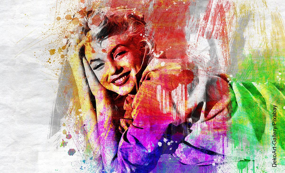 Foto de una pintura de retrato en varios colores que ilustra las frases de Marilyn Monroe