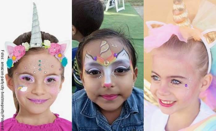 Foto de tres niñas maquilladas artísticamente