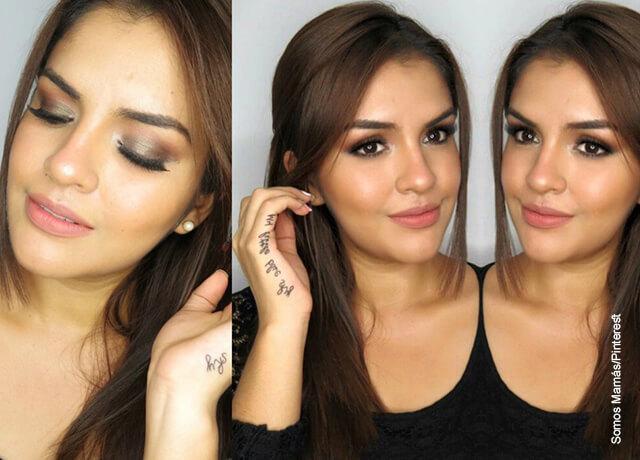 Foto de una mujer joven con un maquillaje en su rostro
