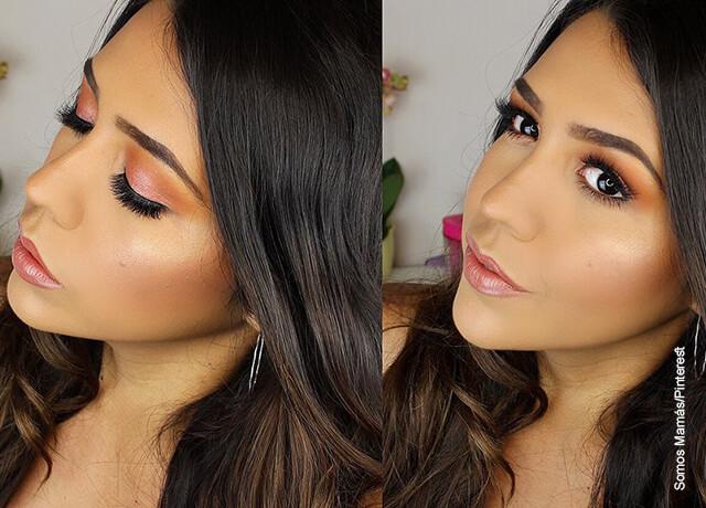 Foto de una mujer de pelo negro que muestra su maquillaje de día