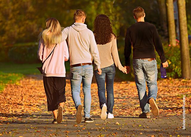 Foto de dos parejas de novios caminando por el parque que ilustra lo que es soñar con amigos
