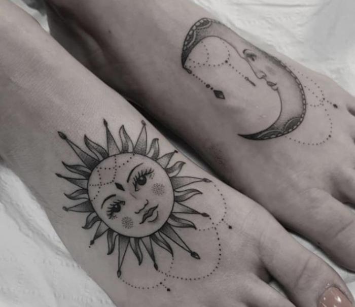 Foto de luna y sol en los pies