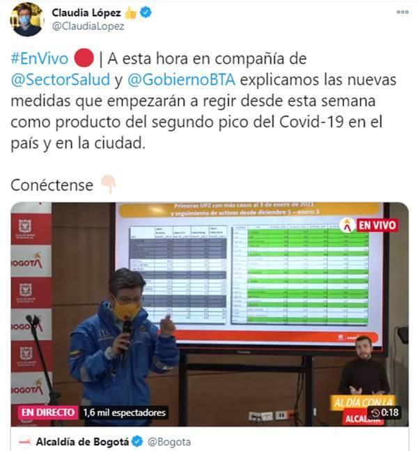 Print del Twitter de Claudia López