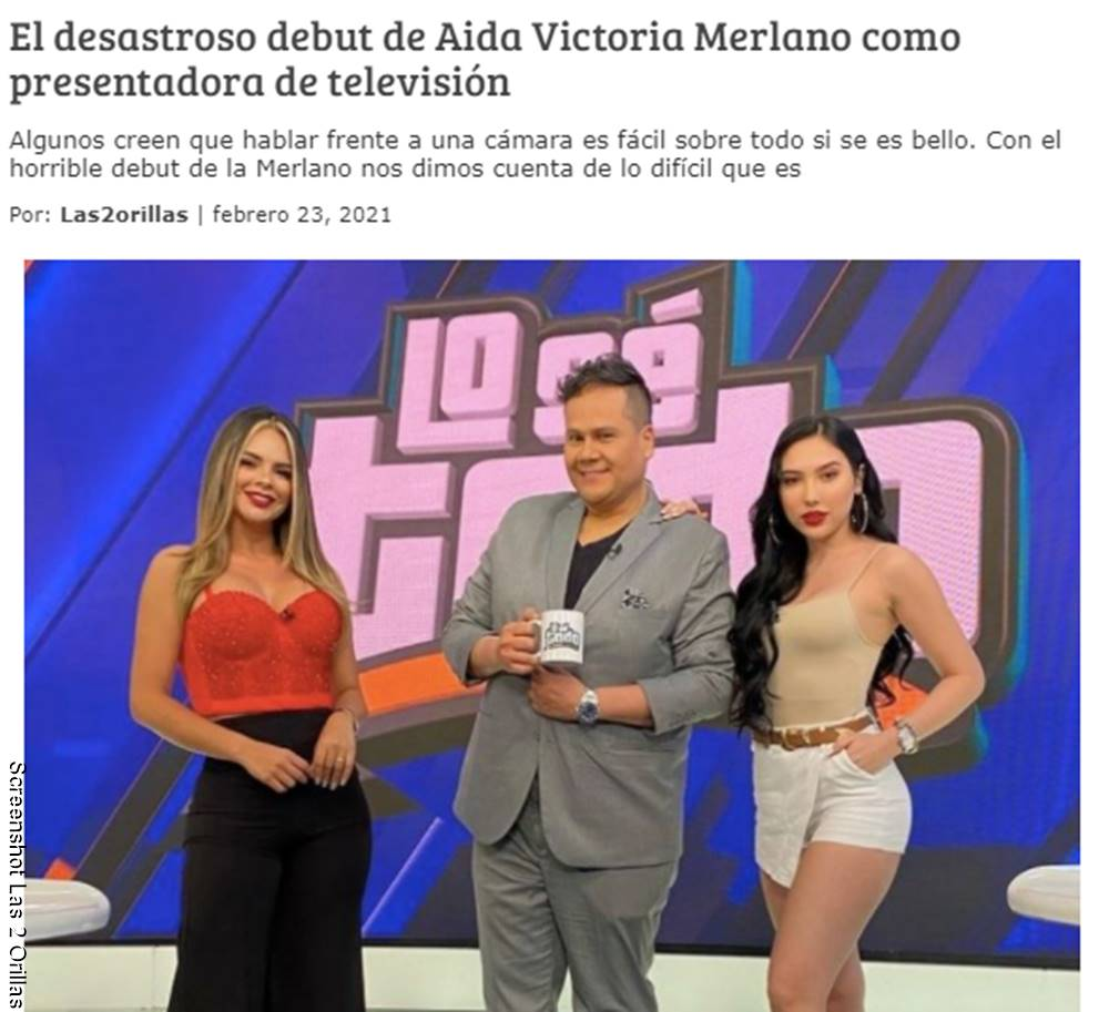 Sreenshot del titular de las 2 orillas sobre Aida Victoria Merlano