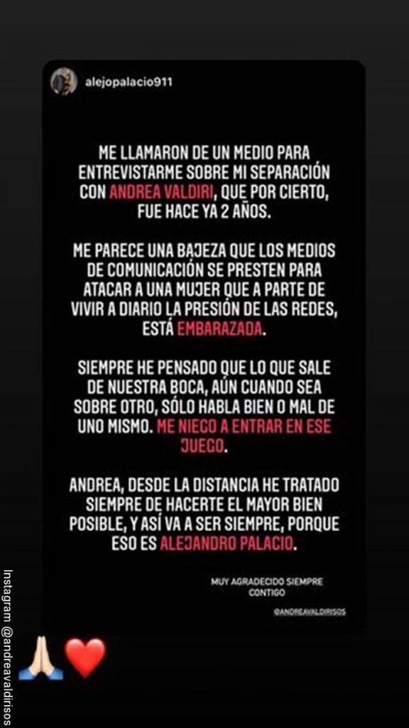 Sreenshot de la publicación hecha por Alejandro Palacio defendiendo a Andrea Valdiri