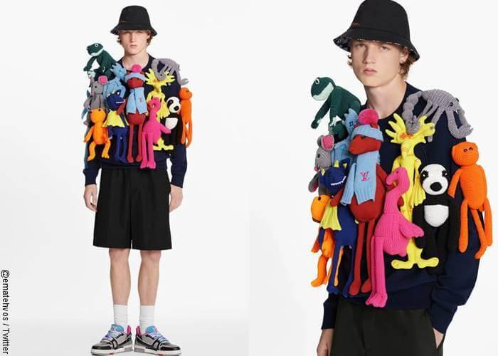 Foto de modelo hombre con peluches en la ropa