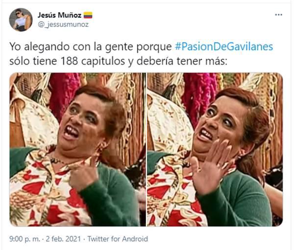 Meme de Twitter sobre final de Pasión de Gavilanes