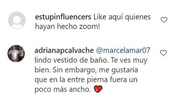 Print de pantalla de comentarios en Instagram