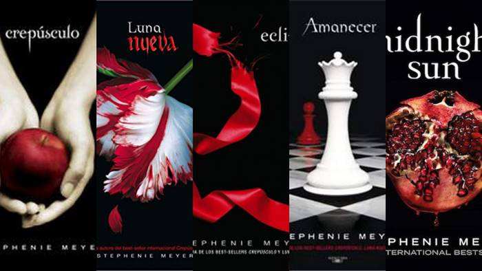 Foto de los libros de la saga Crepúsculo