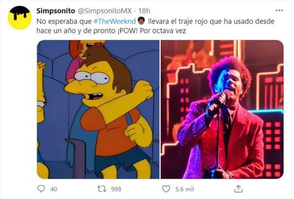 Meme en Twitter sobre presentación de cantante Abel Makkonen Tesfaye en el Super Bowl