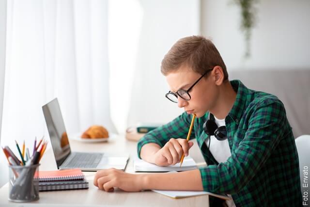 foto que ilustra a un joven inteligente estudiando