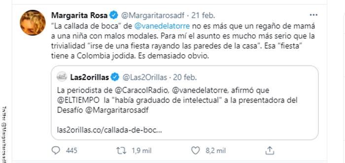 Screenshot del tuit de Margarita Rosa de Francisco sobre el comentario de Vanessa de la Torre