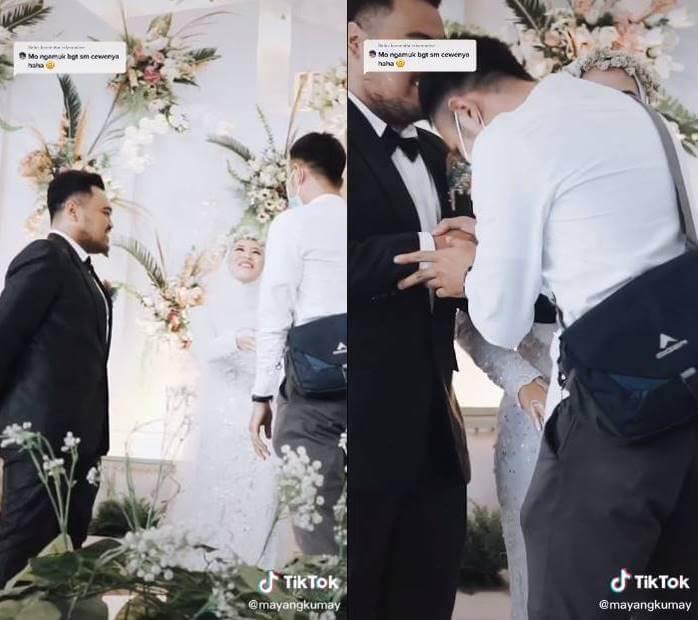 Print de video viral de ex abrazando a la novia en la boda