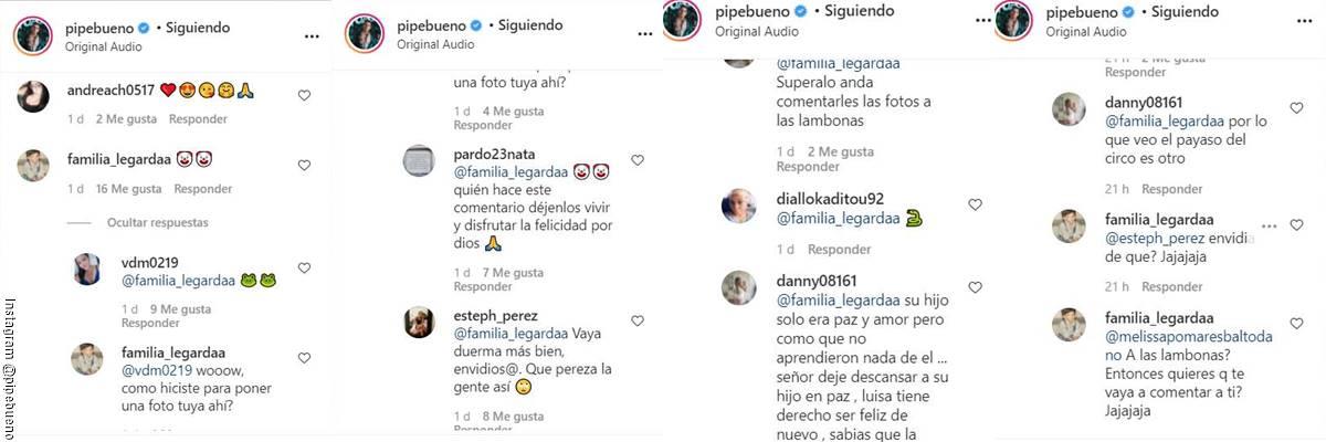 ScreenShot de los comentarios en el video de Pipe Bueno con su hijo