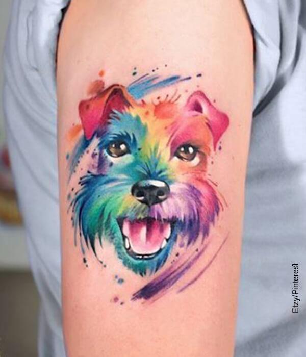 Foto de un perro tatuado en varios colores