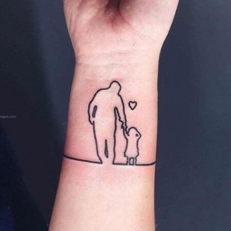 Foto de un tatuaje en la muñeca que muestra los tatuajes para hijos