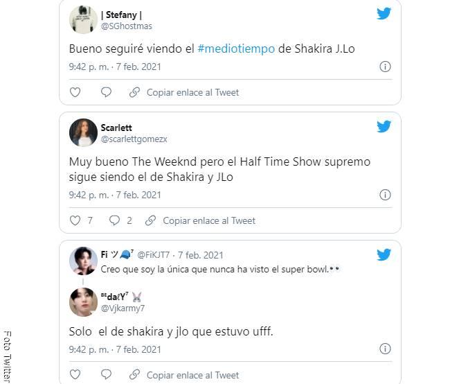 Screenshiot de los comentarios sobre el show de The Weeknd en el Super Bowl