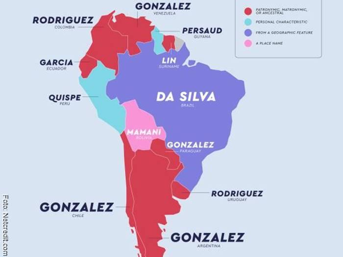 Screenshot del mapa que muestra los apellidos más populares en Sur América