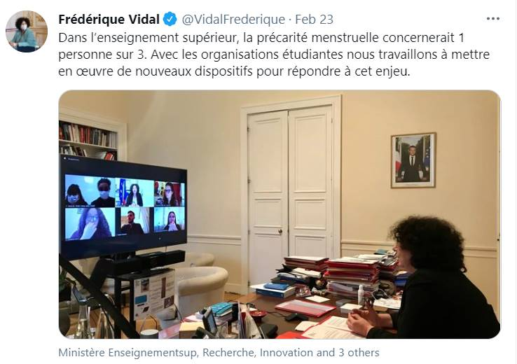 Print de Twitter de la ministra de educación en Francia Frédérique Vidal