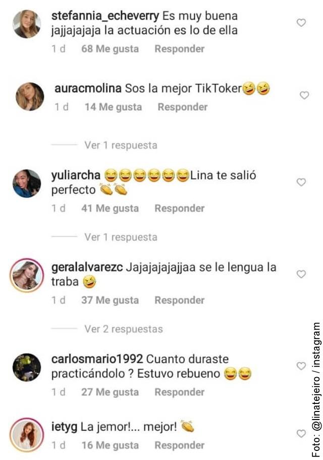 imagen de los comentarios del tiktok de lina tejeiro