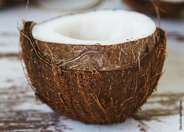 Foto de un coco que muestra cómo hacer aceite de coco
