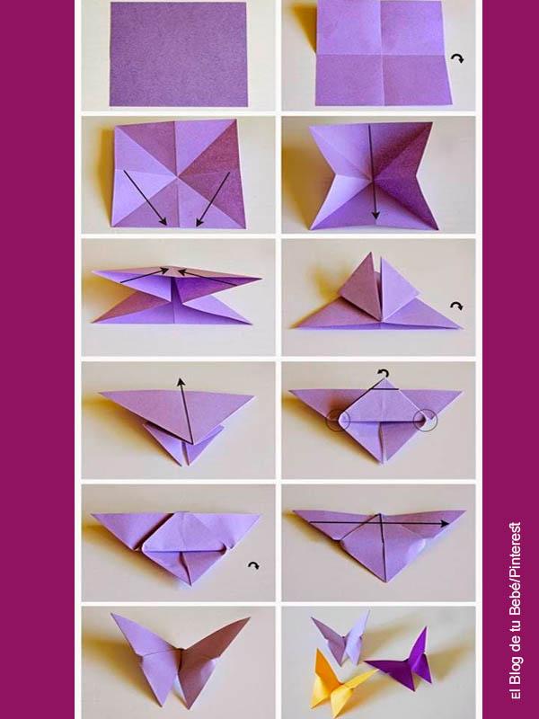 Foto de un paso a paso de cómo hacer origami