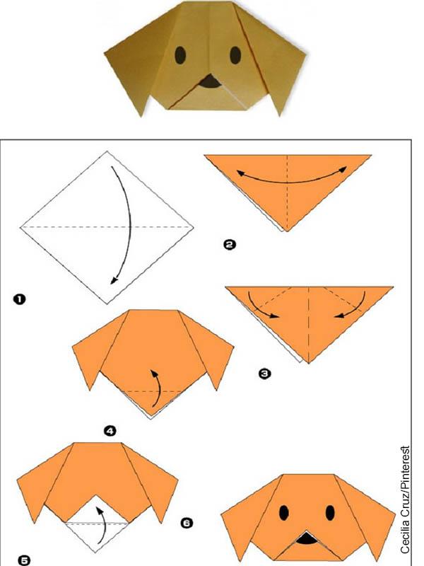 Foto de un patrón para hacer un perro en origami