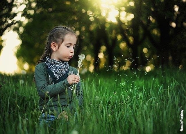 Foto de una niña soplando una flor diente de león en el campo
