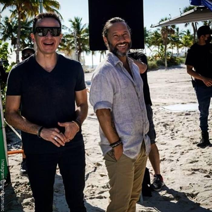 Foto de Fonseca y Diego Torres durante la grabación del video 'Este corazón'