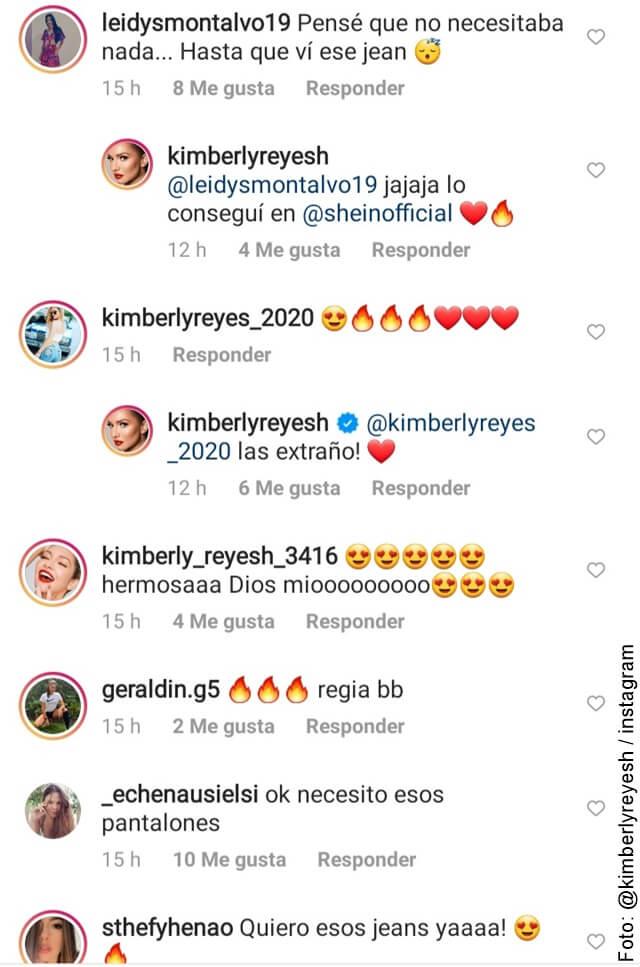 foto de comentarios en la foto del jean sensual de kimberly reyes