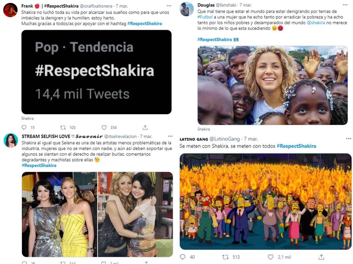 Screenshot de los comentarios defendiendo a Shakira en Twitter