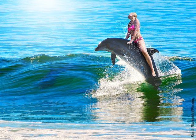 Foto de una mujer sobre un animal acuático que revela lo que significa soñar con delfines